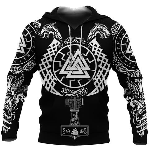 1stIceland Viking Valknut Hoodie Sun Wheel With Mjolnir - Black
