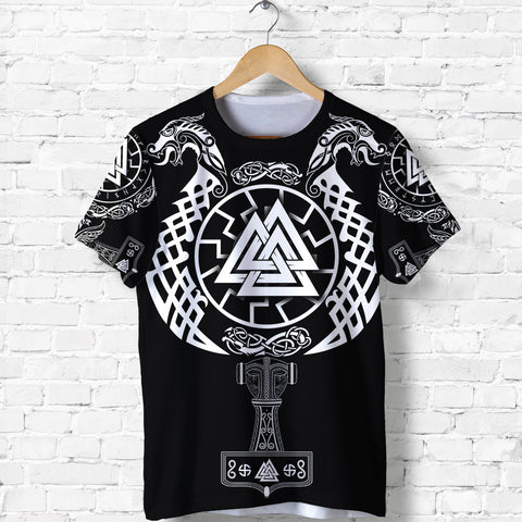 1stIceland Viking Valknut T Shirt Sun Wheel With Mjolnir - Black K8 - 1st Iceland