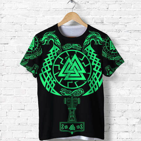 Image of 1stIceland Viking Valknut T Shirt Sun Wheel With Mjolnir - Green K8 - 1st Iceland
