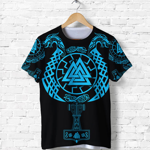 Image of 1stIceland Viking Valknut T Shirt Sun Wheel With Mjolnir - Blue K8 - 1st Iceland