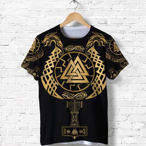 Image of 1stIceland Viking Valknut T Shirt Sun Wheel With Mjolnir - Gold K8 - 1st Iceland