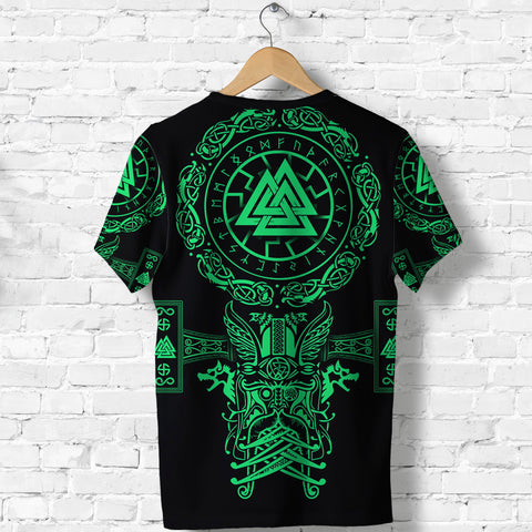 1stIceland Viking Valknut T Shirt Sun Wheel With Mjolnir - Green K8 - 1st Iceland