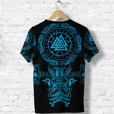 1stIceland Viking Valknut T Shirt Sun Wheel With Mjolnir - Blue K8 - 1st Iceland