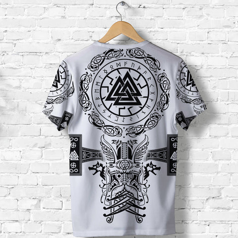 Image of 1stIceland Viking Valknut T Shirt Sun Wheel With Mjolnir - White K8 - 1st Iceland