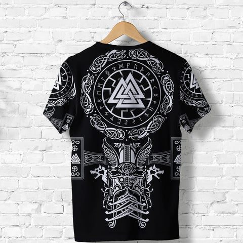 Image of 1stIceland Viking Valknut T Shirt Sun Wheel With Mjolnir - Black K8 - 1st Iceland