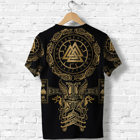 1stIceland Viking Valknut T Shirt Sun Wheel With Mjolnir - Gold K8 - 1st Iceland