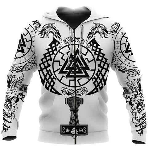 1stIceland Viking Valknut Zip Hoodie Sun Wheel With Mjolnir - White K8