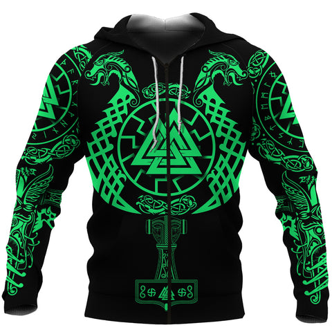 1stIceland Viking Valknut Zip Hoodie Sun Wheel With Mjolnir - Green