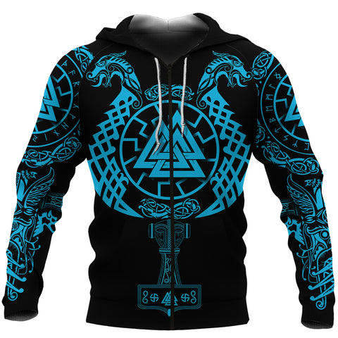 1stIceland Viking Valknut Zip Hoodie Sun Wheel With Mjolnir - Blue K8 - 1st Iceland