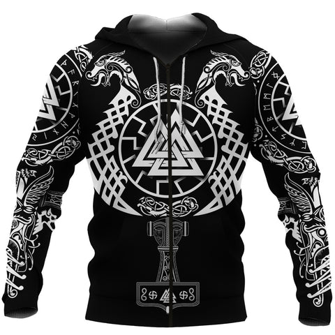 1stIceland Viking Valknut Zip Hoodie Sun Wheel With Mjolnir - Black