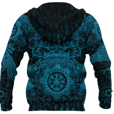 Image of 1stIceland Viking Valkyrie Hoodie Valknut Vegvisir With Mjolnir - Blue K8