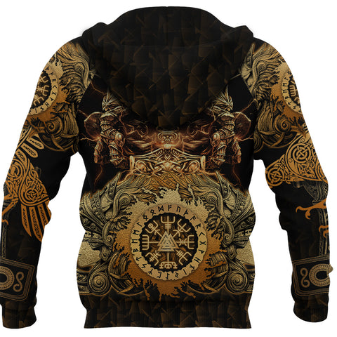 Image of 1stIceland Viking Valkyrie Zip Hoodie Valknut Vegvisir With Mjolnir - Gold K8