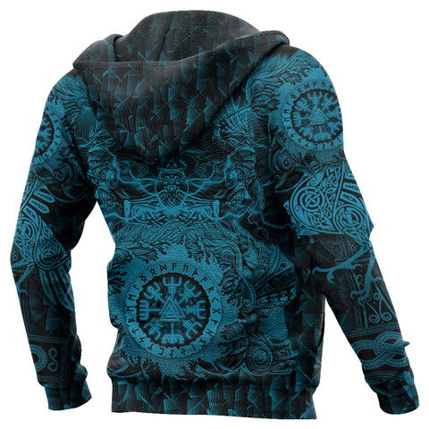Image of 1stIceland Viking Valkyrie Zip Hoodie Valknut Vegvisir With Mjolnir - Blue K8