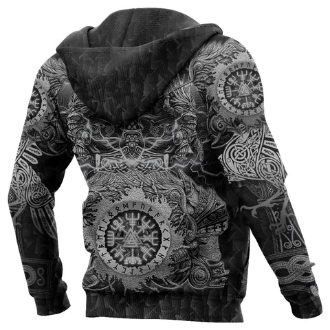 Image of 1stIceland Viking Valkyrie Zip Hoodie Valknut Vegvisir With Mjolnir - Black K8