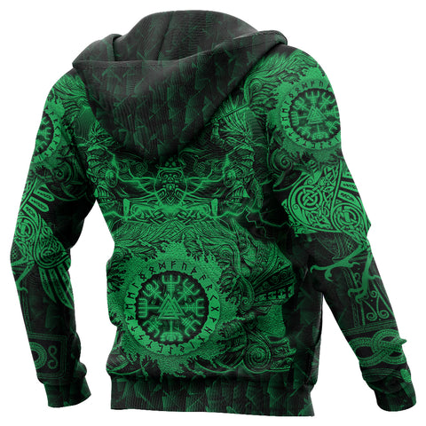 Image of 1stIceland Viking Valkyrie Zip Hoodie Valknut Vegvisir With Mjolnir - Green K8