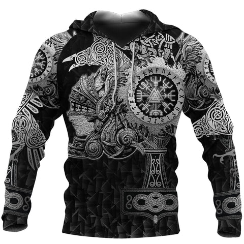 Image of 1stIceland Viking Valkyrie Hoodie Valknut Vegvisir With Mjolnir - Black