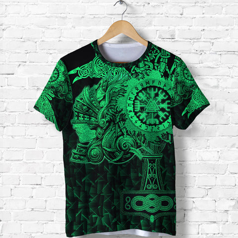 Image of 1stIceland Viking Valkyrie T Shirt Valknut Vegvisir With Mjolnir - Green K8 - 1st Iceland
