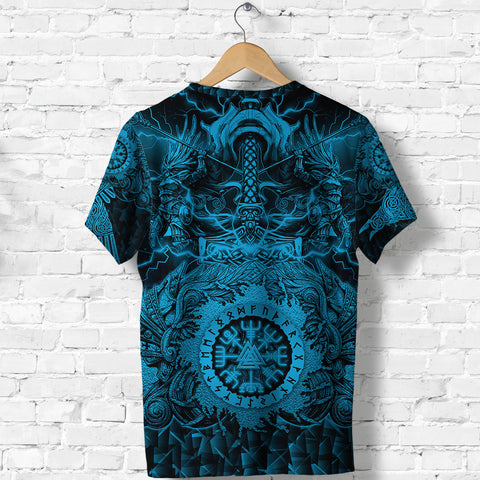 Image of 1stIceland Viking Valkyrie T Shirt Valknut Vegvisir With Mjolnir - Blue K8 - 1st Iceland