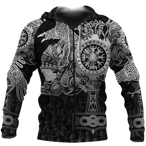 1stIceland Viking Valkyrie Zip Hoodie Valknut Vegvisir With Mjolnir - Black