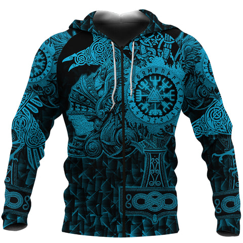 Image of 1stIceland Viking Valkyrie Zip Hoodie Valknut Vegvisir With Mjolnir - Blue