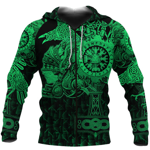 Image of 1stIceland Viking Valkyrie Zip Hoodie Valknut Vegvisir With Mjolnir - Green