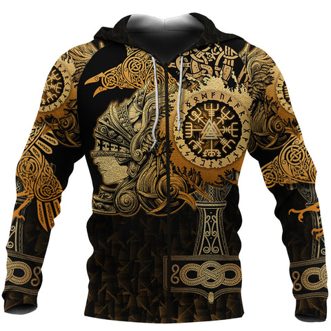 Image of 1stIceland Viking Valkyrie Zip Hoodie Valknut Vegvisir With Mjolnir - Gold