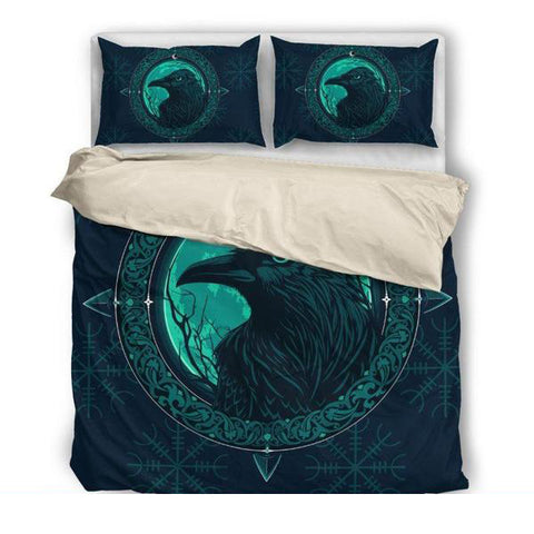 1stIceland Viking Bedding Set, Odin's Raven Helm Of Awe NN8 - 1st Iceland