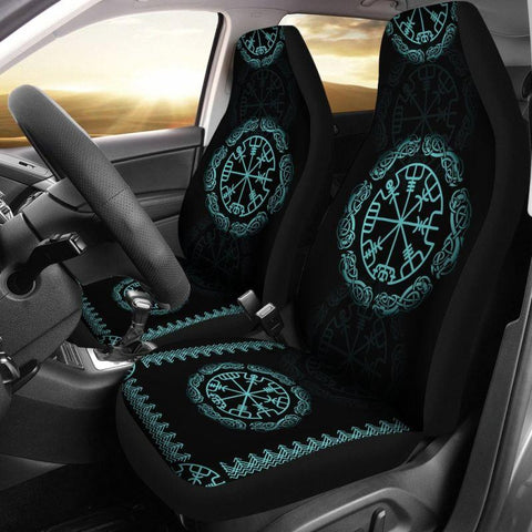 1stIceland Viking Car Seat Covers, Vegvisir Futhark Norse Ha8 - 1st Iceland