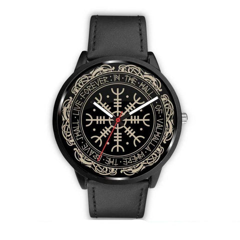 1stIceland Viking Leather/Steel Watch, Vegvisir Runes Circle 01 Bn02 - 1st Iceland
