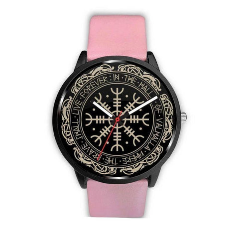 Image of 1stIceland Viking Leather/Steel Watch, Vegvisir Runes Circle 01 Bn02 - 1st Iceland