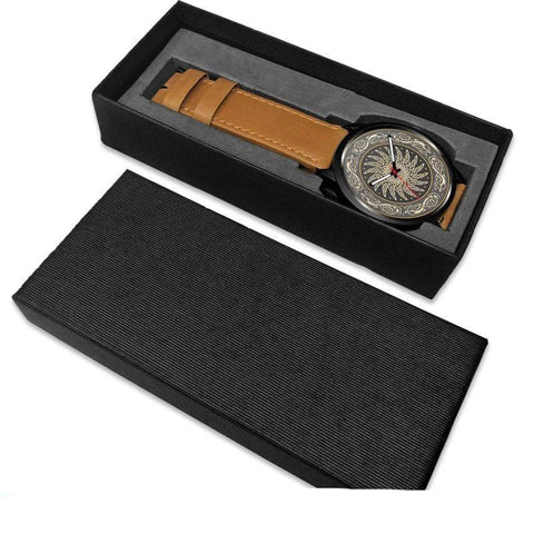 1stIceland Viking Leather/Steel Watch, Design 02 - Bn02 - 1st Iceland