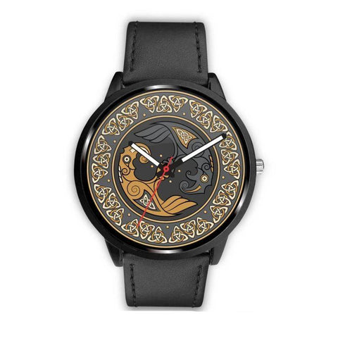 1stIceland Viking Leather/Steel Watch, Odin's Ravens 03 - Bn02 - 1st Iceland