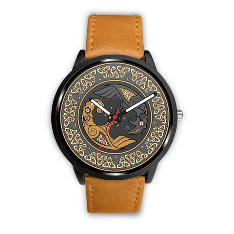 Image of 1stIceland Viking Leather/Steel Watch, Odin's Ravens 03 - Bn02 - 1st Iceland