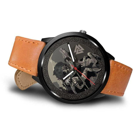 Image of 1stIceland Viking Leather/Steel Watch, Odin's Fenrir 04 - Bn02 - 1st Iceland