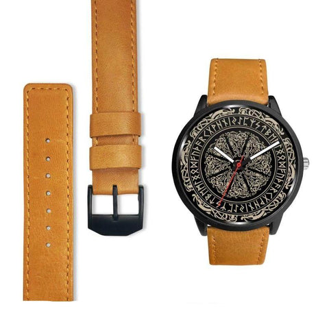 1stIceland Viking Leather/Steel Watch, Runes Circle 06 Bn02 - 1st Iceland