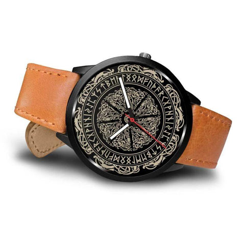 Image of 1stIceland Viking Leather/Steel Watch, Runes Circle 06 Bn02 - 1st Iceland