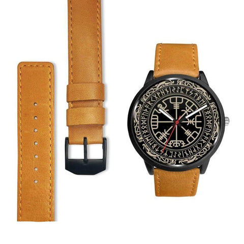 1stIceland Viking Leather/Steel Watch, Vegvisir Runes Circle Bn02 - 1st Iceland