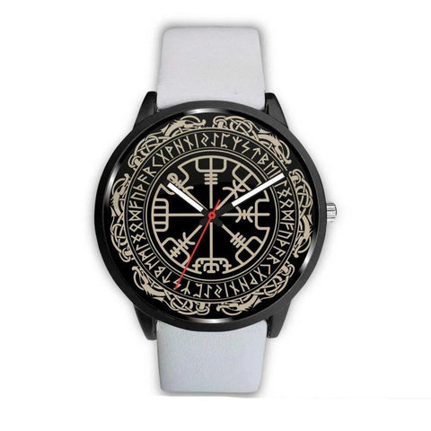 Image of 1stIceland Viking Leather/Steel Watch, Vegvisir Runes Circle Bn02 - 1st Iceland