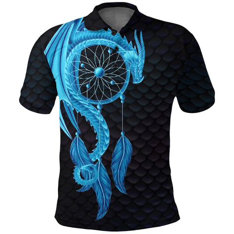 Image of Dragon Dreamcatcher Polo Shirt Blue K4 - 1st Iceland