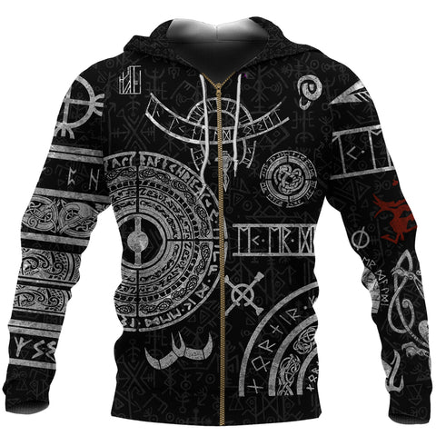 Image of 1stIceland Viking Zip Up Hoodie, Baldur Norse Mythology Tattoo K4 - 1st Iceland