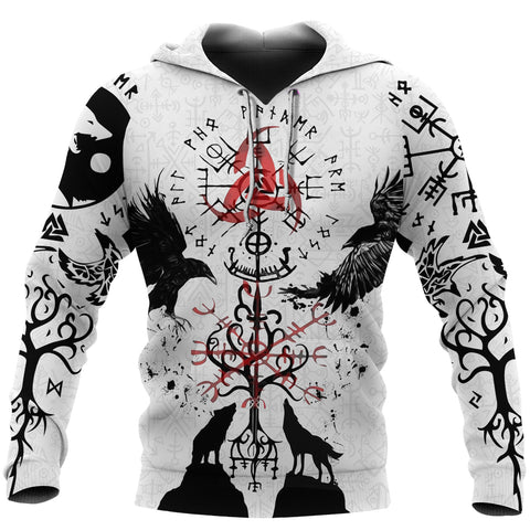 Image of 1stIceland Viking Hoodie, Vegvisir Hugin and Munin with Fenrir Yggdrasil K4 - 1st Iceland
