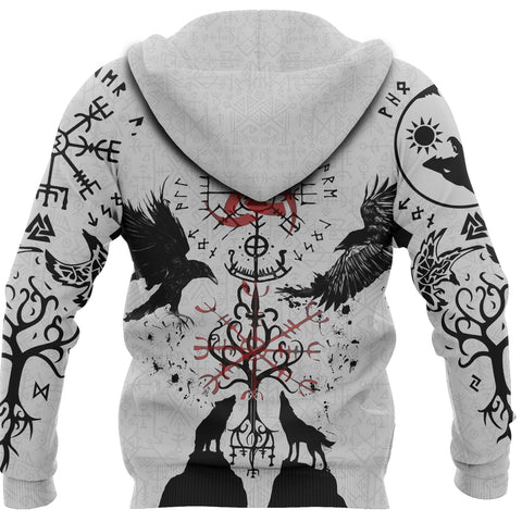1stIceland Viking Zip Up Hoodie, Vegvisir Hugin and Munin with Fenrir Yggdrasil K4 - 1st Iceland