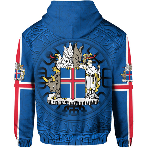 1stIceland Hoodie, Iceland Coat Of Arms Helm Of Awe & Vegvisir Compass K4 - 1st Iceland