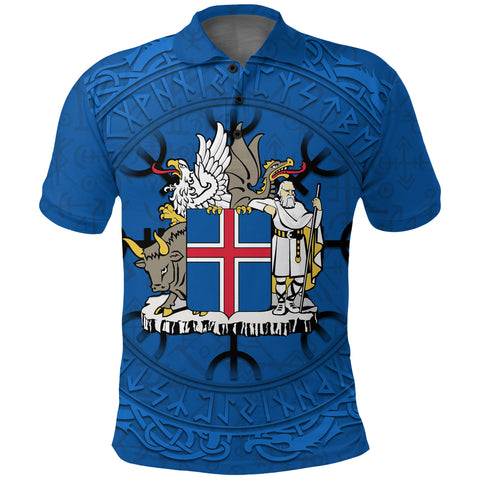 1stIceland Viking Polo T-Shirt, Iceland Coat Of Arms Helm Of Awe K4 - 1st Iceland