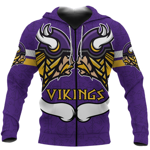 1sticeland Viking Zip Up Hoodie, Vikings Purple and Gold K4 - 1st Iceland
