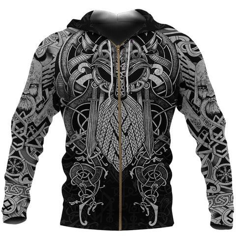 1stIceland Viking Zip Up Hoodie, Odin Norse Mythology Mjolnir K4 - 1st Iceland