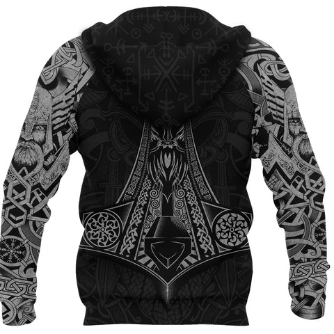 Image of 1stIceland Viking Zip Up Hoodie, Odin Norse Mythology Mjolnir K4 - 1st Iceland