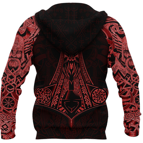 Image of 1stIceland Viking Zip Up Hoodie, Odin Mjolnir K4 - 1st Iceland