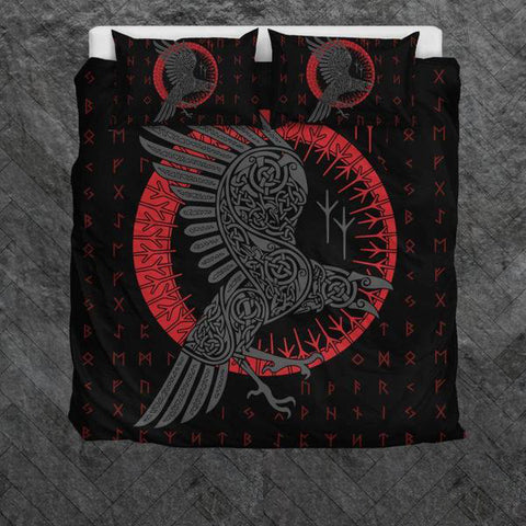 Image of 1stIceland Viking Bedding Set, Ragnar's Raven Rune A0 - 1st Iceland