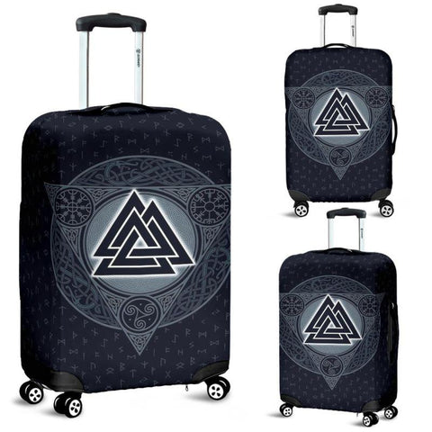 1stIceland Viking Luggage Cover, Valknut Runes Triskelion Helm Of Awe Vegvisir Nn8 - 1st Iceland